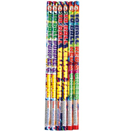 10 BALL ROMAN CANDLE (assorted) P4023